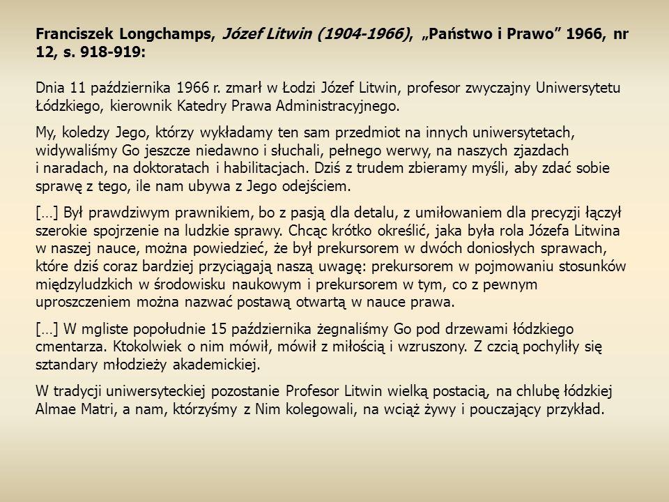 "Franciszek Longchamps, Józef Litwin (1904-1966), ""Państwo i Prawo 1966, nr 12, s."