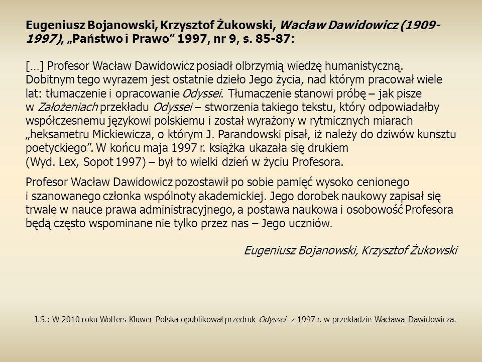 """Eugeniusz Bojanowski, Krzysztof Żukowski, Wacław Dawidowicz (1909- 1997), """"Państwo i Prawo 1997, nr 9, s."""