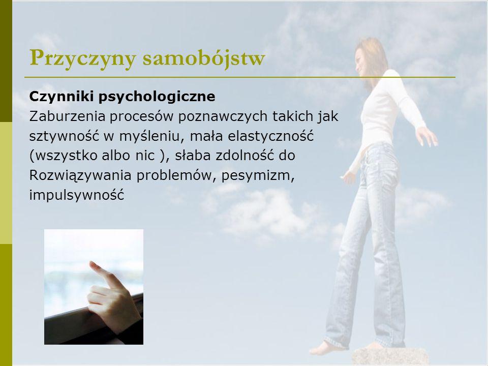 Przyczyny samobójstw Czynniki psychologiczne Zaburzenia procesów poznawczych takich jak sztywność w myśleniu, mała elastyczność (wszystko albo nic ),