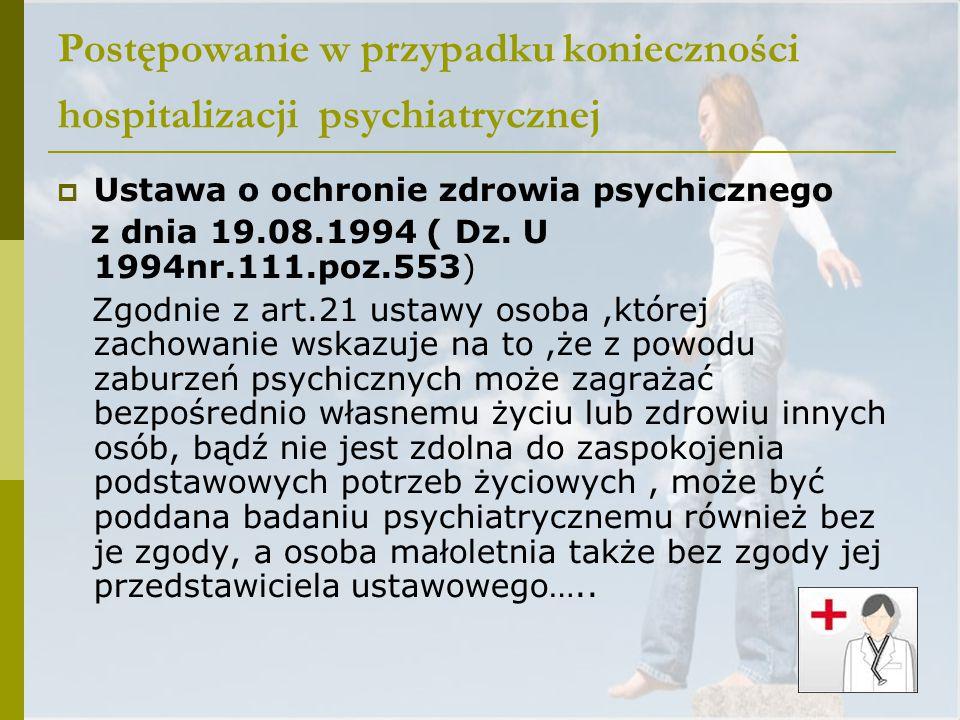 Postępowanie w przypadku konieczności hospitalizacji psychiatrycznej  Ustawa o ochronie zdrowia psychicznego z dnia 19.08.1994 ( Dz. U 1994nr.111.poz