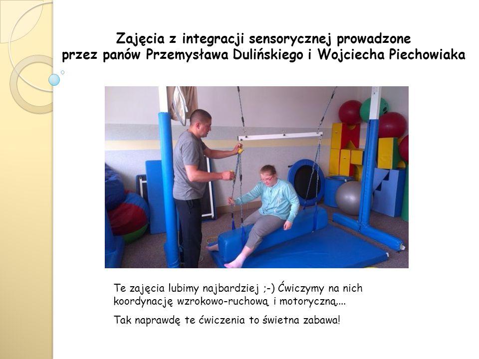 Zajęcia z integracji sensorycznej prowadzone przez panów Przemysława Dulińskiego i Wojciecha Piechowiaka Te zajęcia lubimy najbardziej ;-) Ćwiczymy na nich koordynację wzrokowo-ruchową i motoryczną....