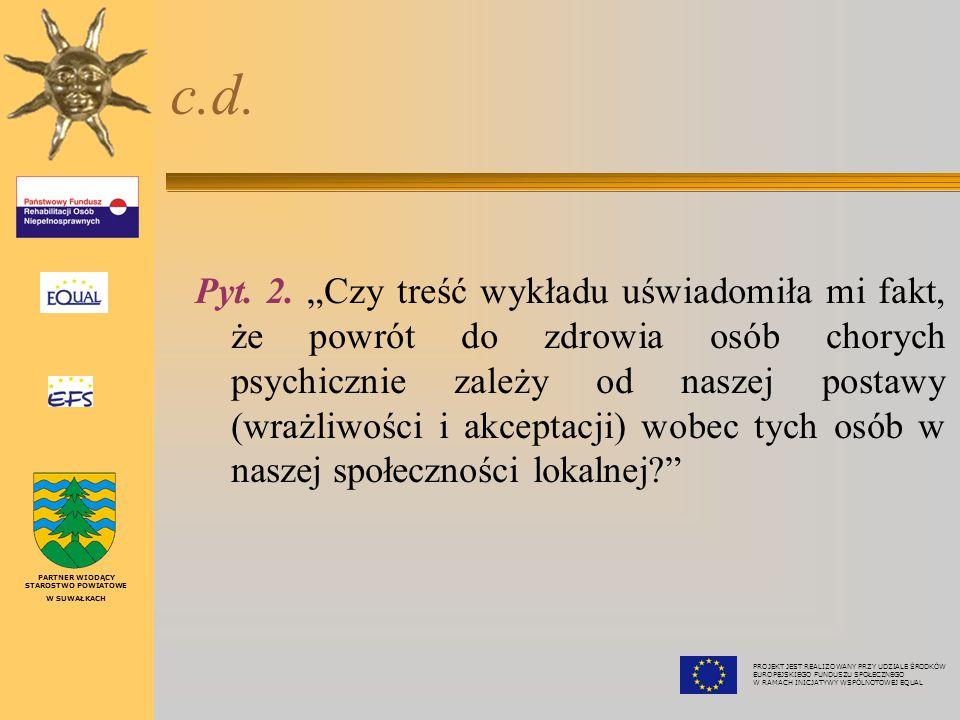 """lekarz Maciej T. Smarżewski Pyt. 1. """"Czy treść wykładu zmieniła korzystnie mój dotychczasowy pogląd na temat chorób psychicznych? Czy poszerzyła świad"""