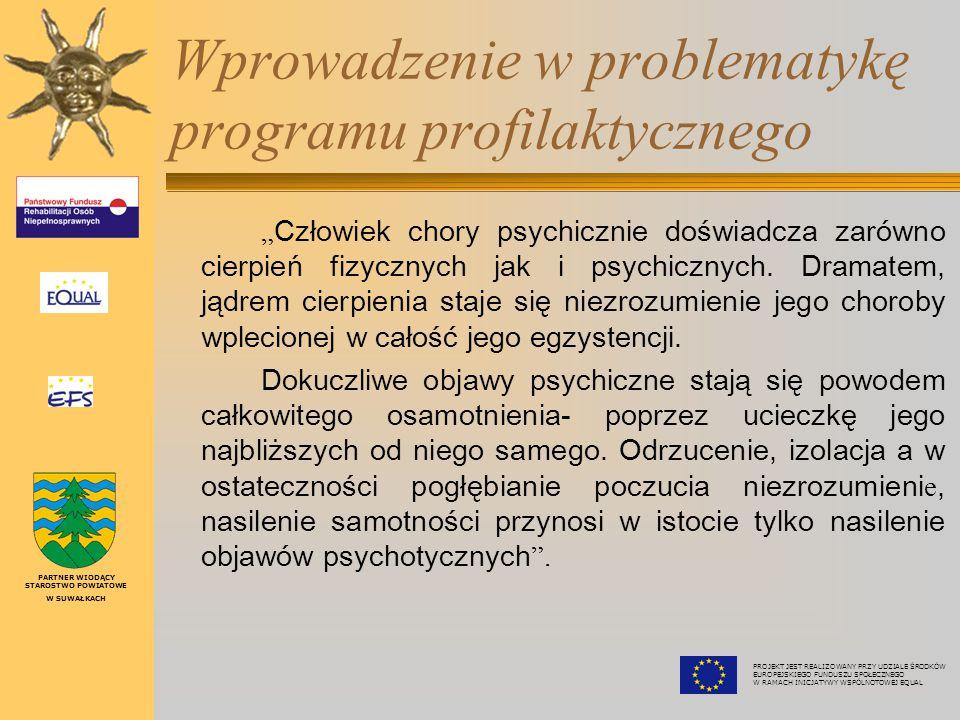 """Wprowadzenie w problematykę programu profilaktycznego """" Człowiek chory psychicznie doświadcza zarówno cierpień fizycznych jak i psychicznych."""