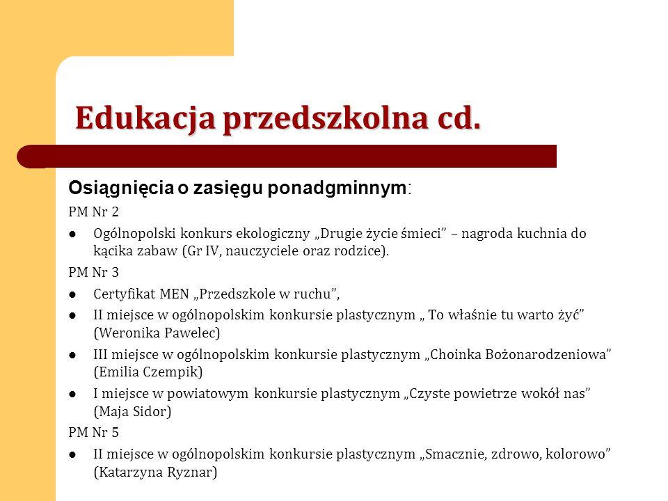 Edukacja przedszkolna cd.