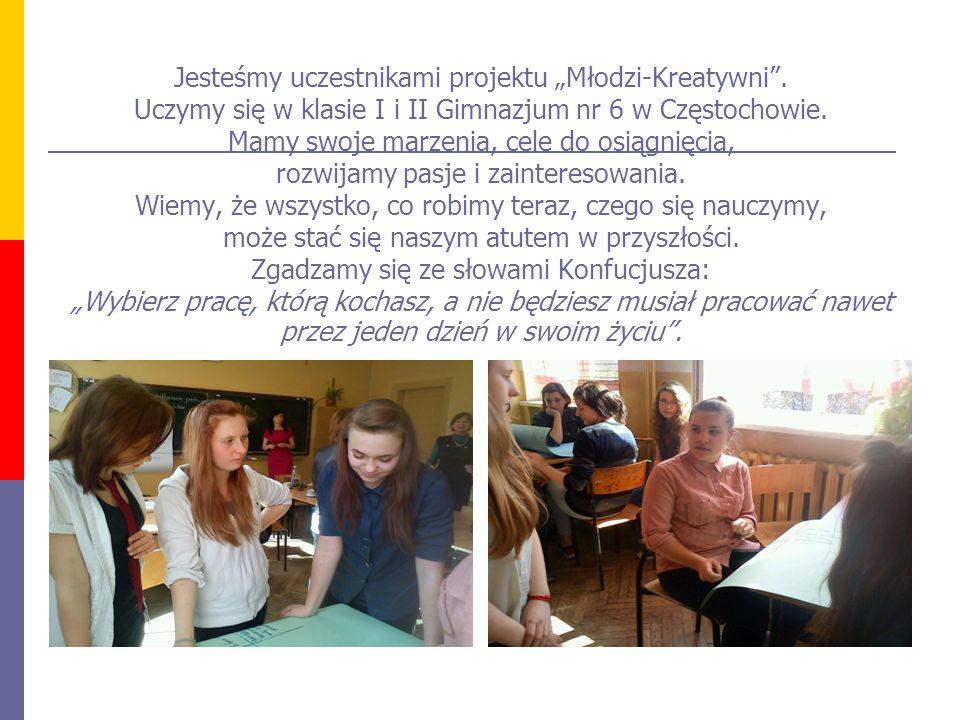 """Jesteśmy uczestnikami projektu """"Młodzi-Kreatywni ."""