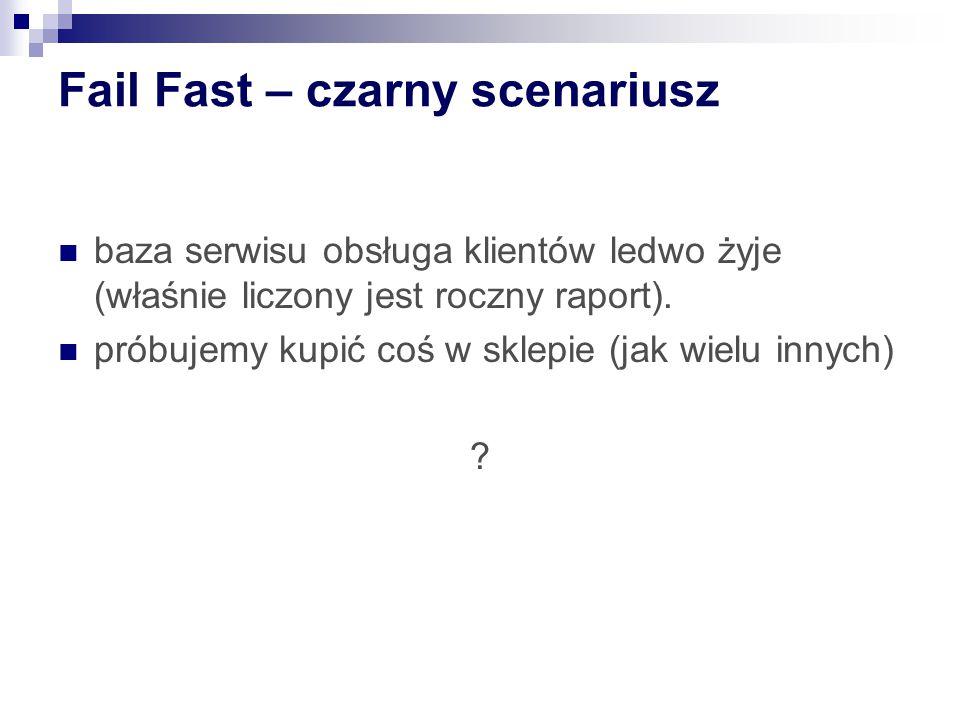 Fail Fast – czarny scenariusz baza serwisu obsługa klientów ledwo żyje (właśnie liczony jest roczny raport). próbujemy kupić coś w sklepie (jak wielu