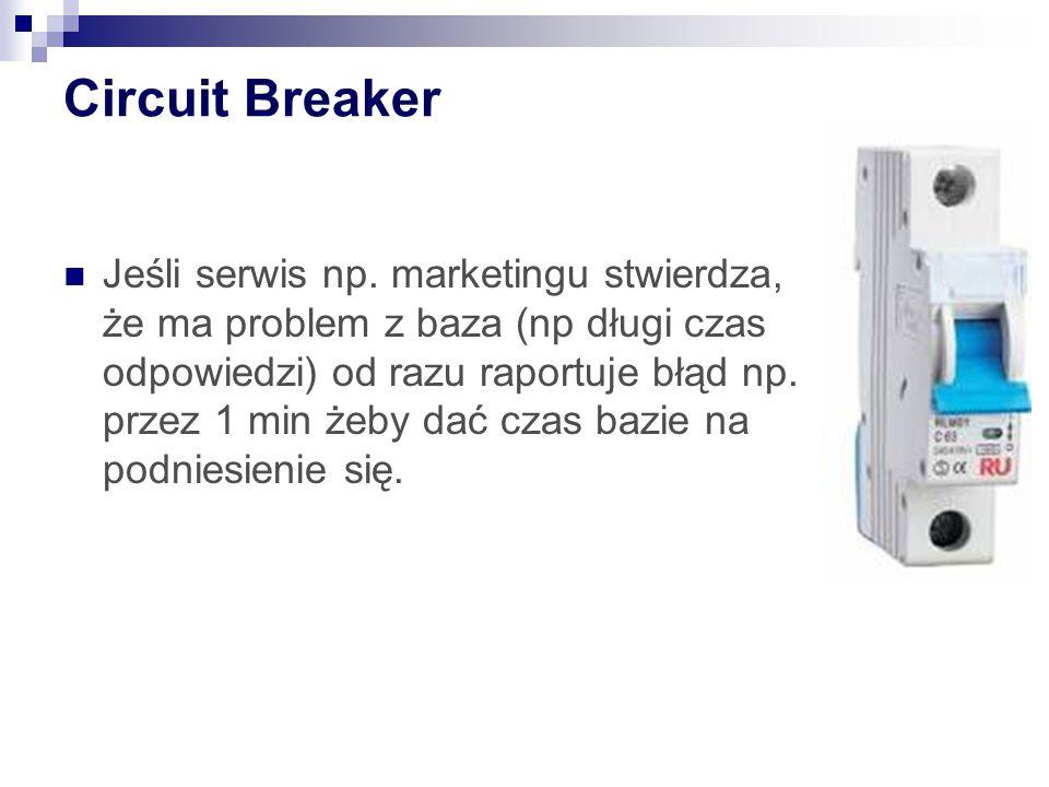 Circuit Breaker Jeśli serwis np. marketingu stwierdza, że ma problem z baza (np długi czas odpowiedzi) od razu raportuje błąd np. przez 1 min żeby dać