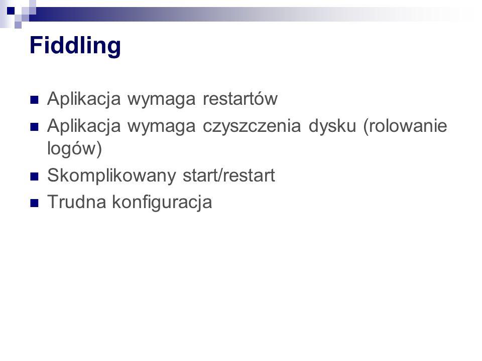 Fiddling Aplikacja wymaga restartów Aplikacja wymaga czyszczenia dysku (rolowanie logów) Skomplikowany start/restart Trudna konfiguracja