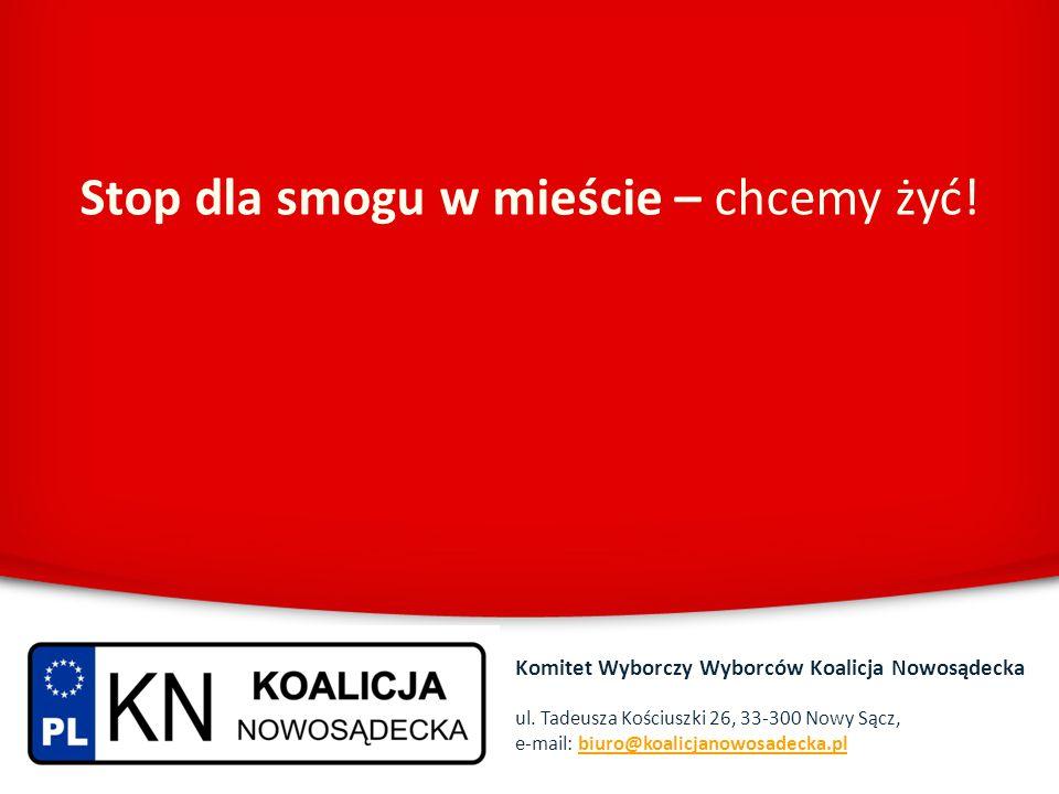 Stop dla smogu w mieście – chcemy żyć! Komitet Wyborczy Wyborców Koalicja Nowosądecka ul. Tadeusza Kościuszki 26, 33-300 Nowy Sącz, e-mail: biuro@koal