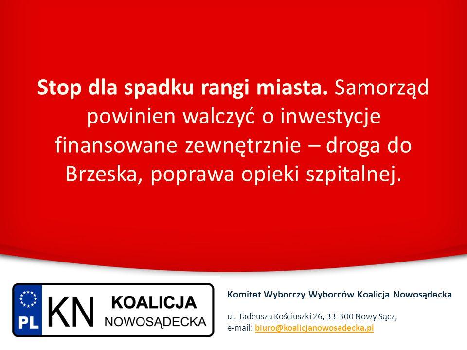Stop dla spadku rangi miasta. Samorząd powinien walczyć o inwestycje finansowane zewnętrznie – droga do Brzeska, poprawa opieki szpitalnej. Komitet Wy
