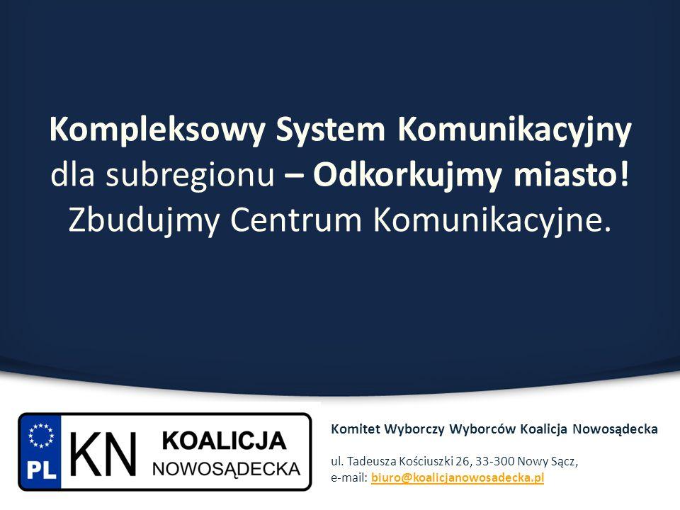 Kompleksowy System Komunikacyjny dla subregionu – Odkorkujmy miasto! Zbudujmy Centrum Komunikacyjne. Komitet Wyborczy Wyborców Koalicja Nowosądecka ul