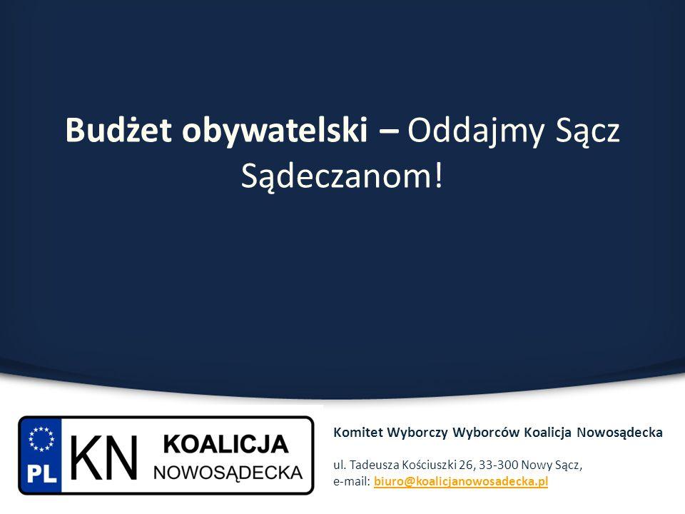 Budżet obywatelski – Oddajmy Sącz Sądeczanom! Komitet Wyborczy Wyborców Koalicja Nowosądecka ul. Tadeusza Kościuszki 26, 33-300 Nowy Sącz, e-mail: biu