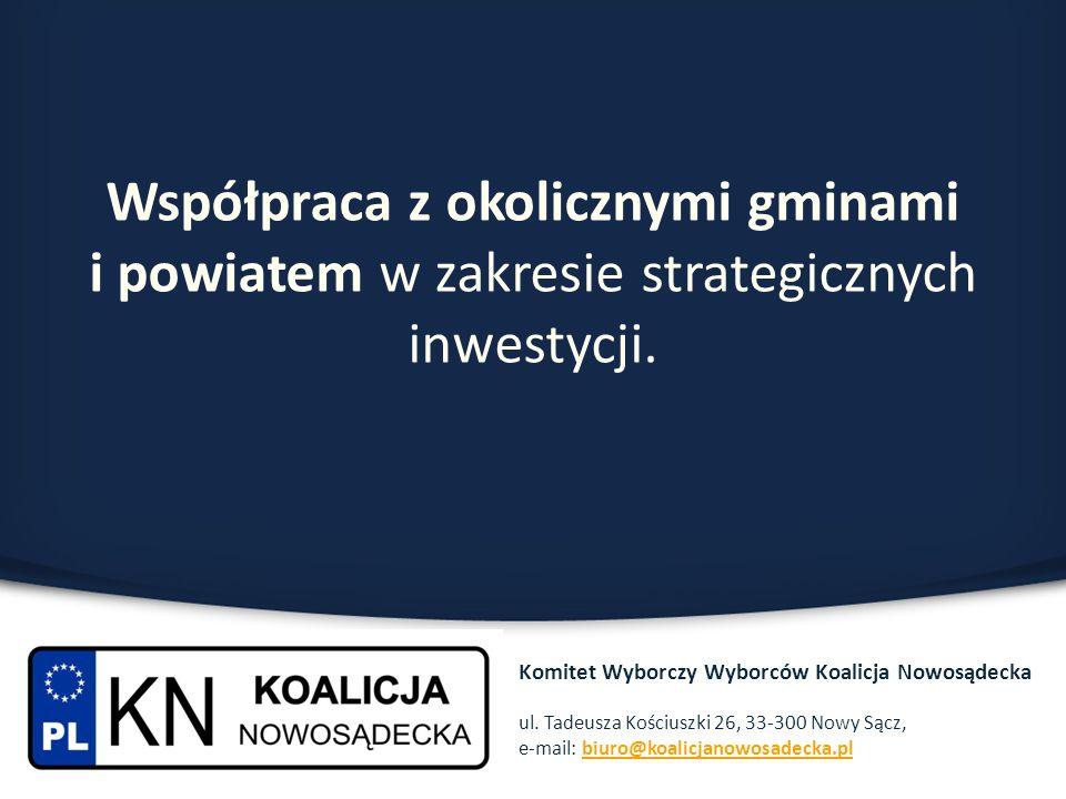 Współpraca z okolicznymi gminami i powiatem w zakresie strategicznych inwestycji. Komitet Wyborczy Wyborców Koalicja Nowosądecka ul. Tadeusza Kościusz