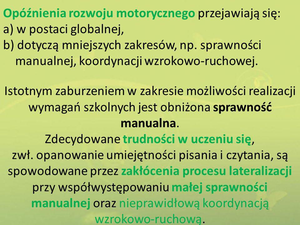 Opóźnienia rozwoju motorycznego przejawiają się: a) w postaci globalnej, b) dotyczą mniejszych zakresów, np. sprawności manualnej, koordynacji wzrokow