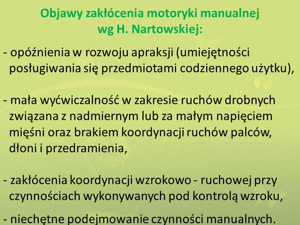 Objawy zakłócenia motoryki manualnej wg H. Nartowskiej: - opóźnienia w rozwoju apraksji (umiejętności posługiwania się przedmiotami codziennego użytku