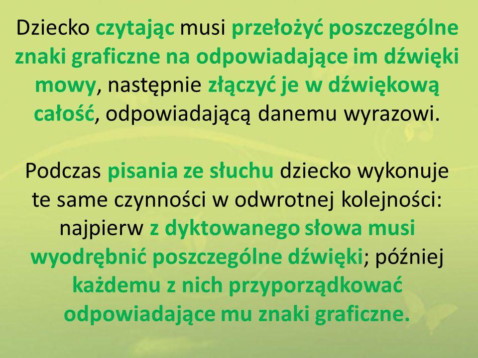 Kreślenie leniwych ósemek (na tablicy, na biurku, po piasku, w powietrzu), ósemek alfabetycznych – metoda Dennisona.