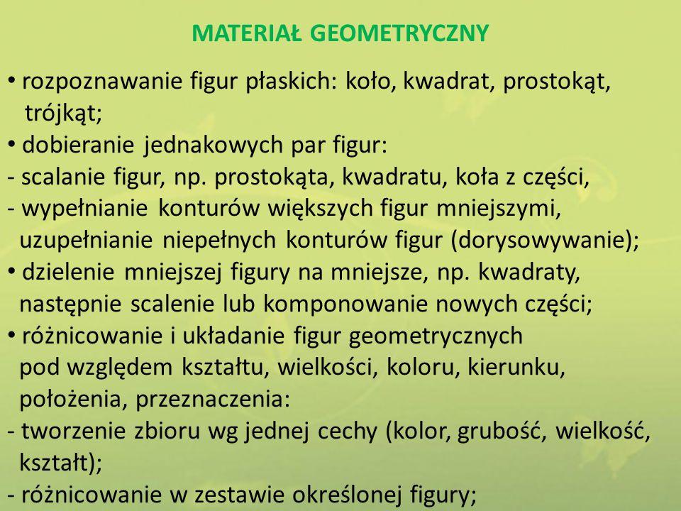 MATERIAŁ GEOMETRYCZNY rozpoznawanie figur płaskich: koło, kwadrat, prostokąt, trójkąt; dobieranie jednakowych par figur: - scalanie figur, np. prostok