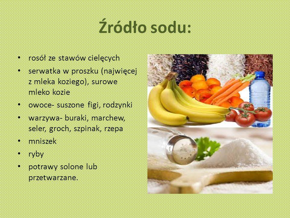 Źródło sodu: rosół ze stawów cielęcych serwatka w proszku (najwięcej z mleka koziego), surowe mleko kozie owoce- suszone figi, rodzynki warzywa- buraki, marchew, seler, groch, szpinak, rzepa mniszek ryby potrawy solone lub przetwarzane.