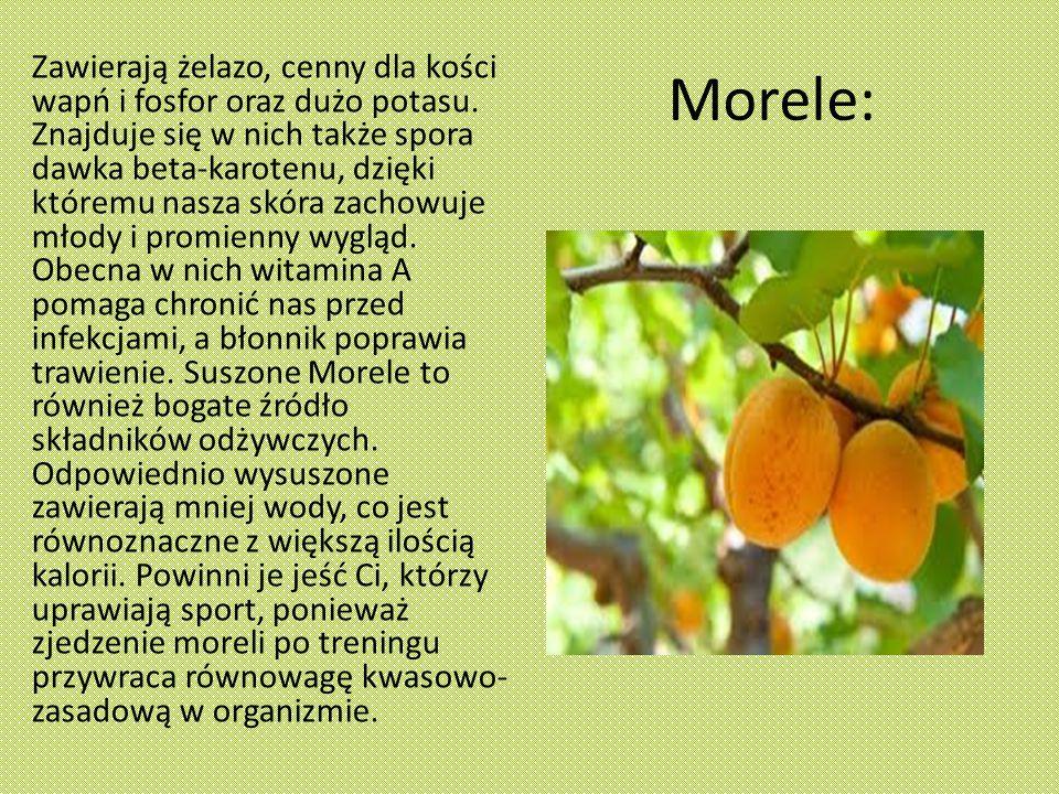 Morele: Zawierają żelazo, cenny dla kości wapń i fosfor oraz dużo potasu.