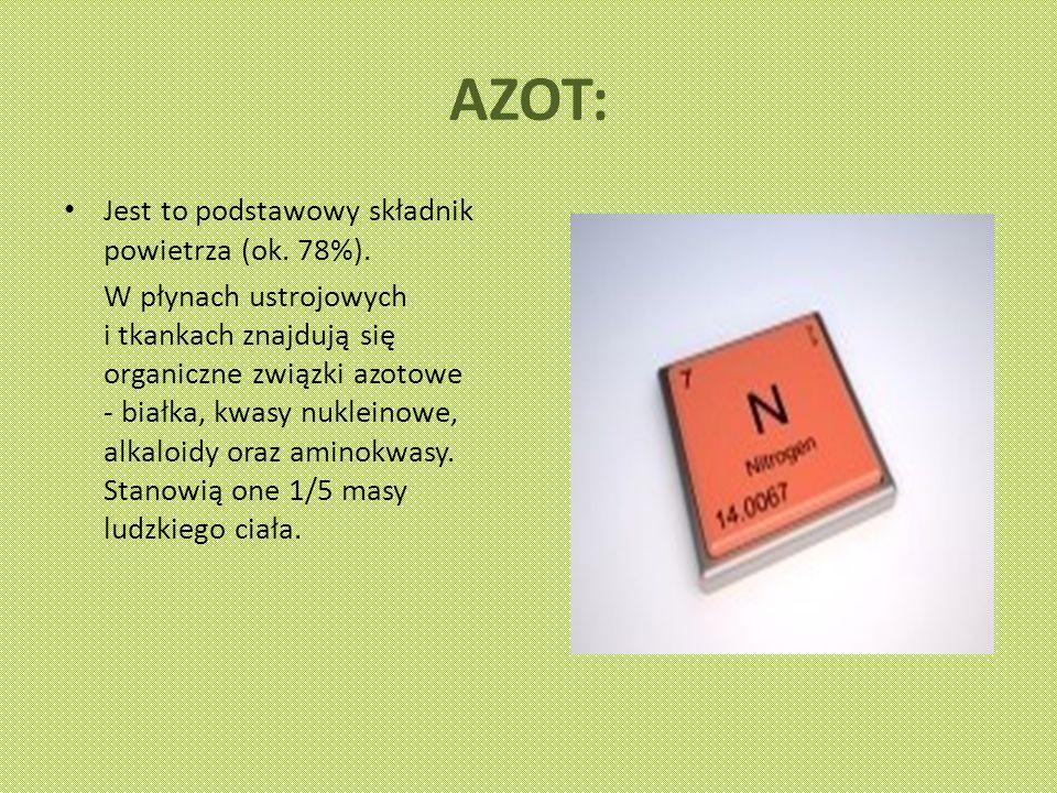 AZOT: Jest to podstawowy składnik powietrza (ok.78%).