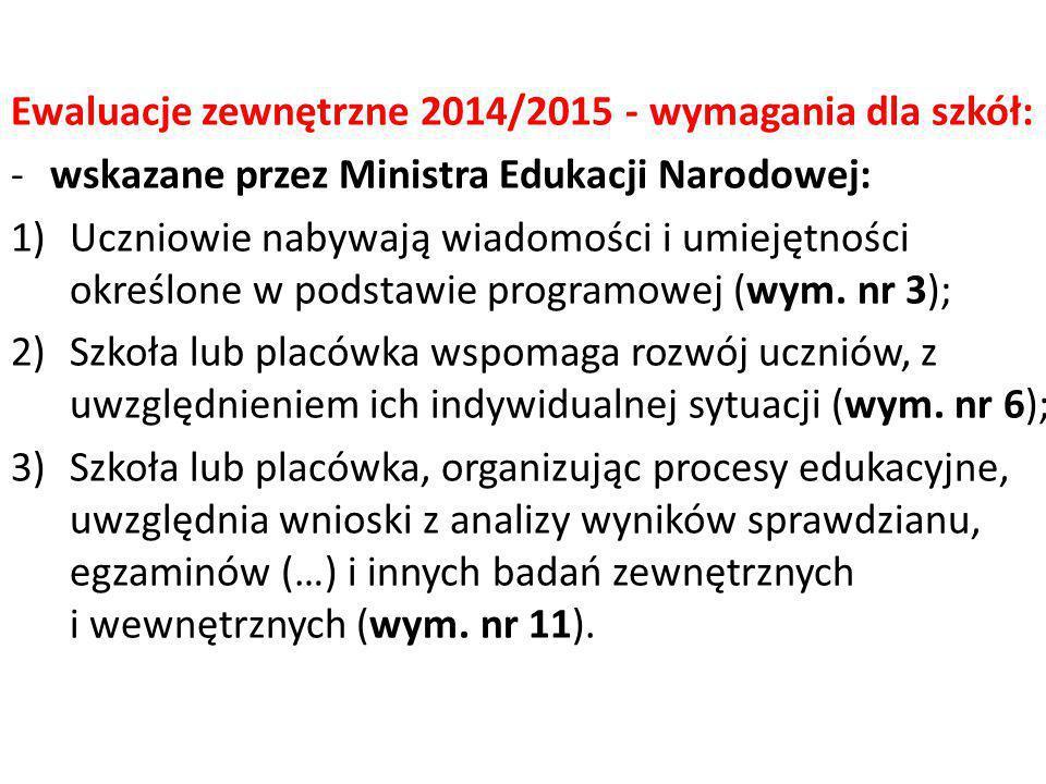 Ewaluacje zewnętrzne 2014/2015 - wymagania dla szkół: -wskazane przez Ministra Edukacji Narodowej: 1)Uczniowie nabywają wiadomości i umiejętności okre