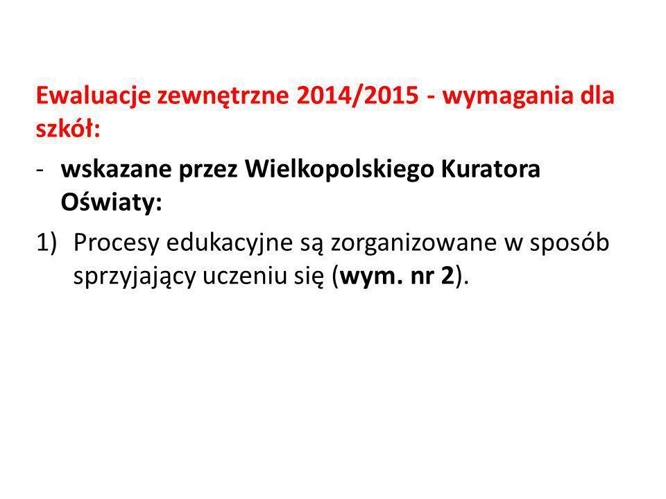 Ewaluacje zewnętrzne 2014/2015 - wymagania dla szkół: -wskazane przez Wielkopolskiego Kuratora Oświaty: 1)Procesy edukacyjne są zorganizowane w sposób