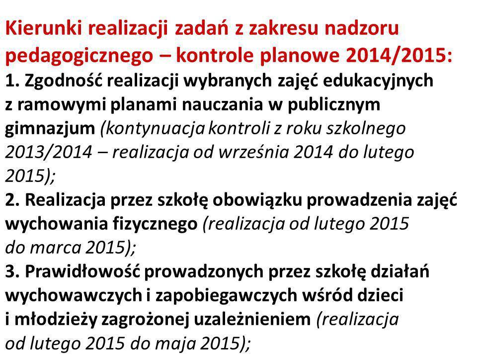 Kierunki realizacji zadań z zakresu nadzoru pedagogicznego – kontrole planowe 2014/2015: 1. Zgodność realizacji wybranych zajęć edukacyjnych z ramowym