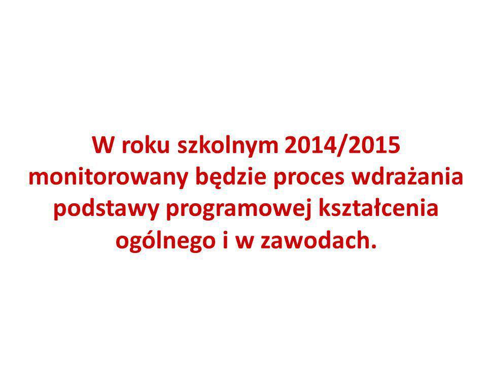 W roku szkolnym 2014/2015 monitorowany będzie proces wdrażania podstawy programowej kształcenia ogólnego i w zawodach.