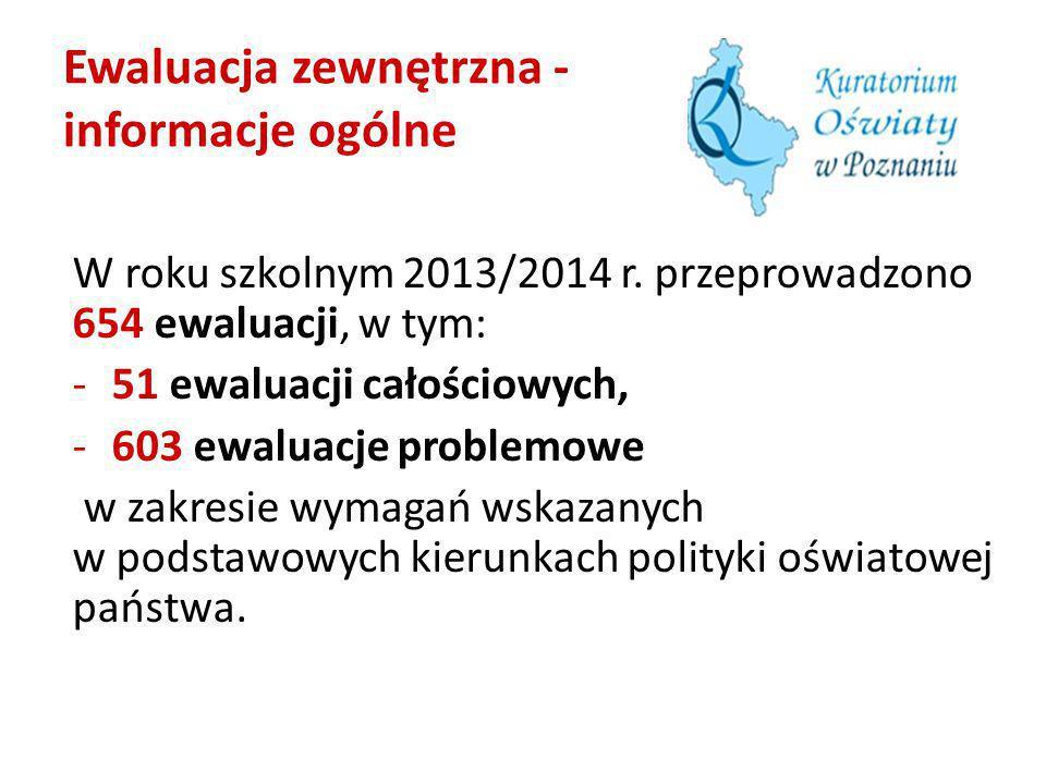 Ewaluacja zewnętrzna - informacje ogólne W roku szkolnym 2013/2014 r. przeprowadzono 654 ewaluacji, w tym: -51 ewaluacji całościowych, -603 ewaluacje