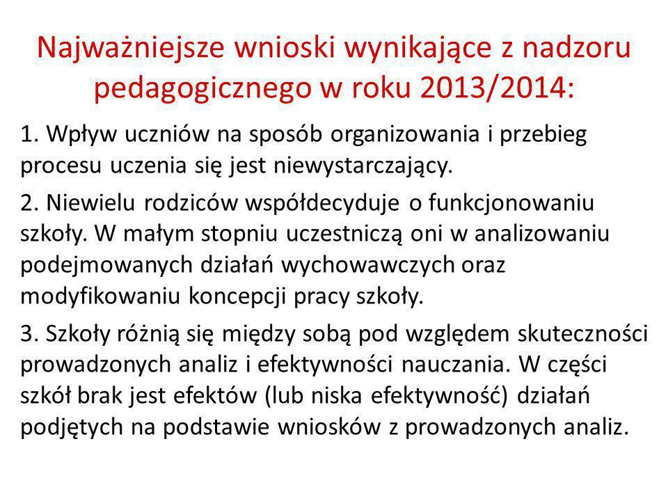 Najważniejsze wnioski wynikające z nadzoru pedagogicznego w roku 2013/2014: 1. Wpływ uczniów na sposób organizowania i przebieg procesu uczenia się je