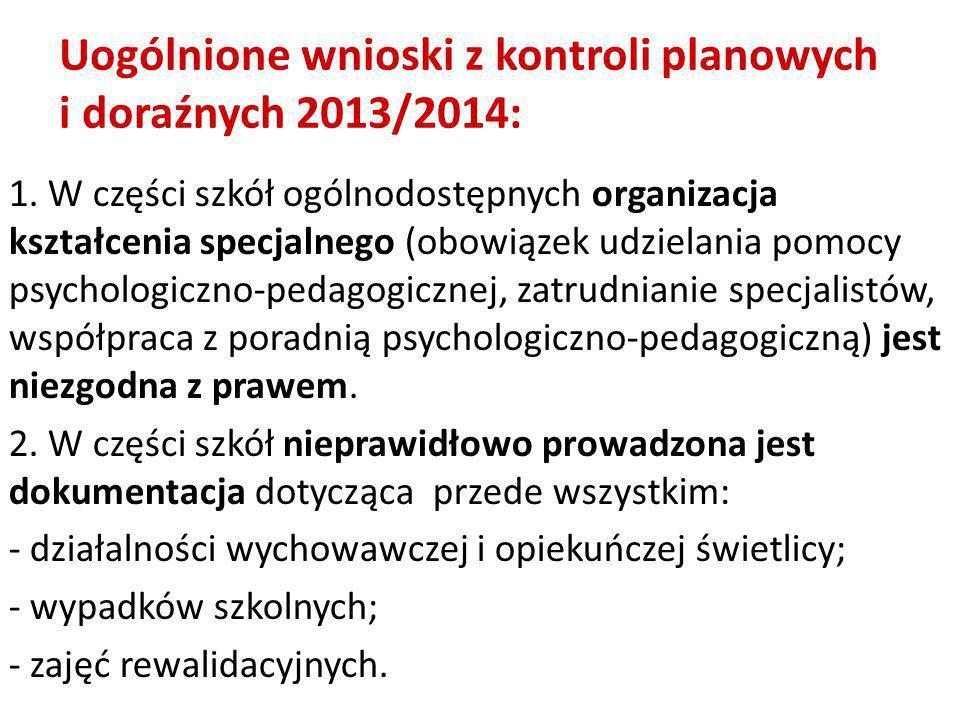 1. W części szkół ogólnodostępnych organizacja kształcenia specjalnego (obowiązek udzielania pomocy psychologiczno-pedagogicznej, zatrudnianie specjal