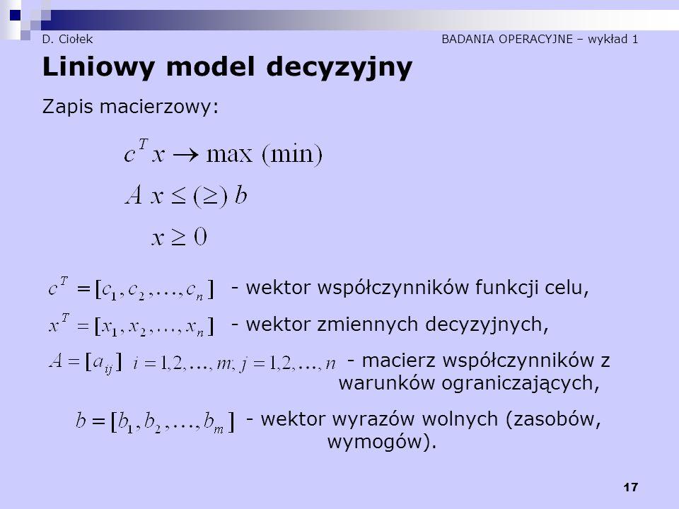 17 D. Ciołek BADANIA OPERACYJNE – wykład 1 Liniowy model decyzyjny Zapis macierzowy: - wektor współczynników funkcji celu, - wektor zmiennych decyzyjn