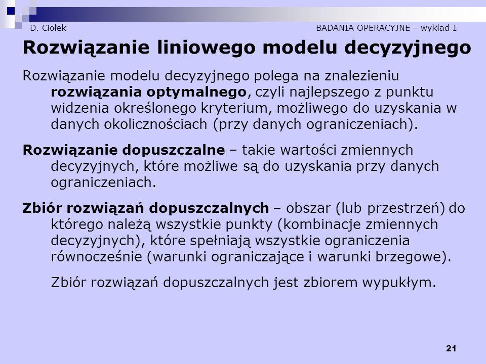 21 D. Ciołek BADANIA OPERACYJNE – wykład 1 Rozwiązanie liniowego modelu decyzyjnego Rozwiązanie modelu decyzyjnego polega na znalezieniu rozwiązania o
