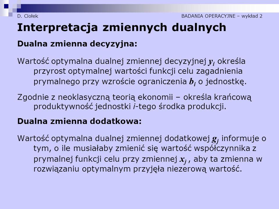D. Ciołek BADANIA OPERACYJNE – wykład 2 Interpretacja zmiennych dualnych Dualna zmienna decyzyjna: Wartość optymalna dualnej zmiennej decyzyjnej y i o