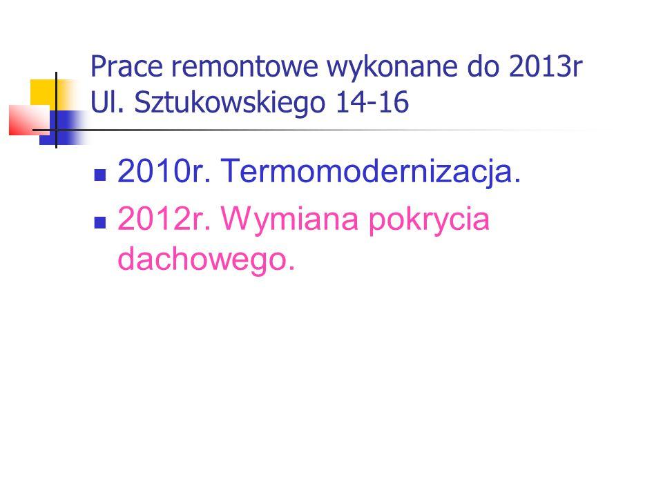 Prace remontowe wykonane do 2013r Ul. Sztukowskiego 14-16 2010r.