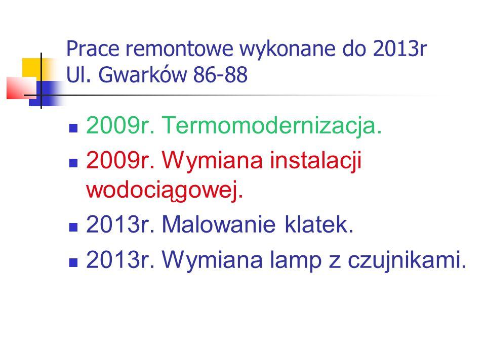 Prace remontowe wykonane do 2013r Ul. Gwarków 86-88 2009r.