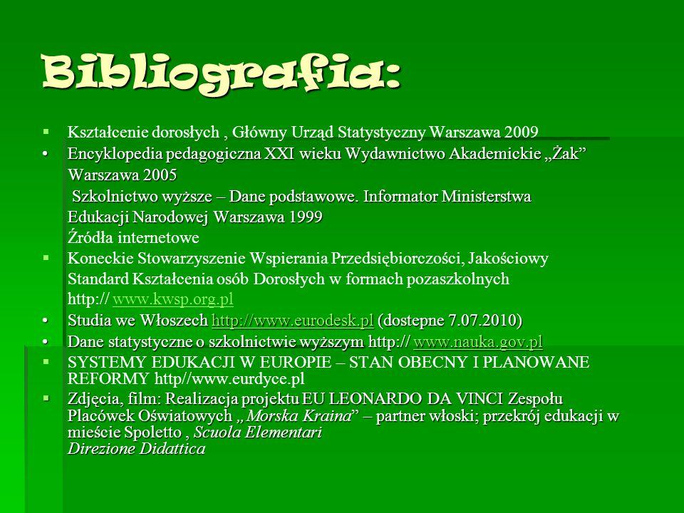 """Bibliografia:   Kształcenie dorosłych, Główny Urząd Statystyczny Warszawa 2009 Encyklopedia pedagogiczna XXI wieku Wydawnictwo Akademickie """"Żak""""Ency"""