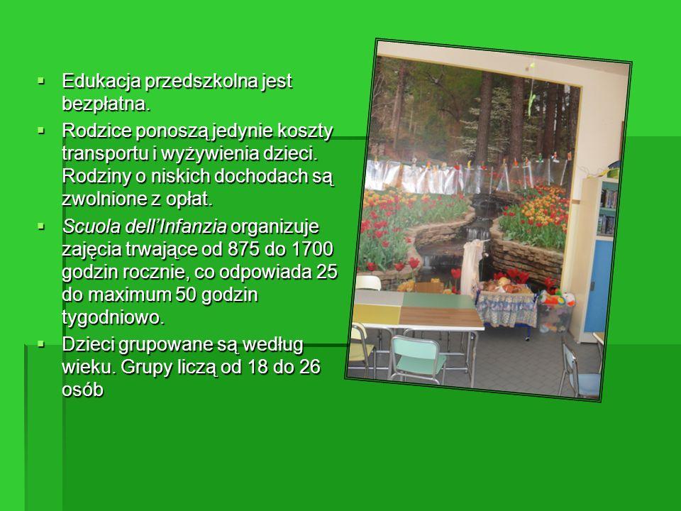 Kształcenie obowiązkowe Scuola primaria (szkoła podstawowa) 6-11 lat Scuola secondaria di I grado (szkoła średnia I stopnia) 11-14 lat Secondo ciclo di istruzione (druki cykl systemu edukacji) 14-16 lat III ETAPY
