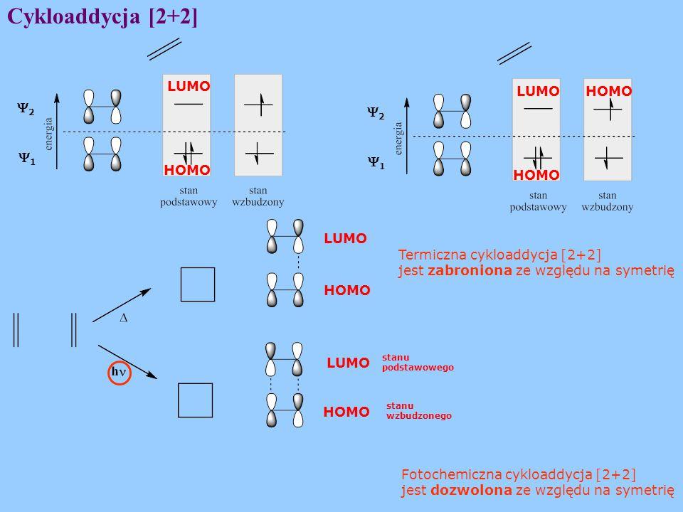 Cykloaddycja [2+2] 22 11 22 11 LUMO HOMO LUMO HOMO LUMO Termiczna cykloaddycja [2+2] jest zabroniona ze względu na symetrię HOMO Fotochemiczna cykloaddycja [2+2] jest dozwolona ze względu na symetrię HOMO LUMO stanu podstawowego stanu wzbudzonego