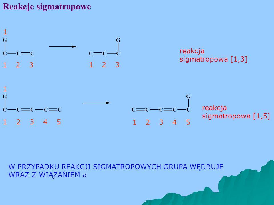 Reakcje sigmatropowe 132 1 4 1 132 132 132 4 5 5 W PRZYPADKU REAKCJI SIGMATROPOWYCH GRUPA WĘDRUJE WRAZ Z WIĄZANIEM  reakcja sigmatropowa [1,3] reakcja sigmatropowa [1,5]