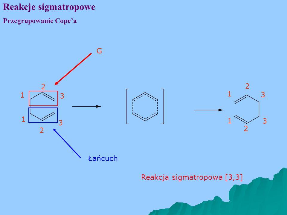 Reakcje sigmatropowe Przegrupowanie Cope'a 1 3 2 1 3 2 1 3 2 1 3 2 G Łańcuch Reakcja sigmatropowa [3,3]