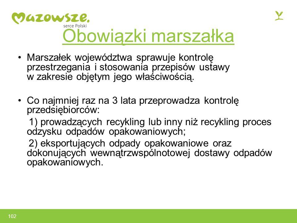 102 Obowiązki marszałka Marszałek województwa sprawuje kontrolę przestrzegania i stosowania przepisów ustawy w zakresie objętym jego właściwością.