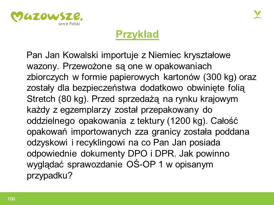 106 Przykład Pan Jan Kowalski importuje z Niemiec kryształowe wazony.
