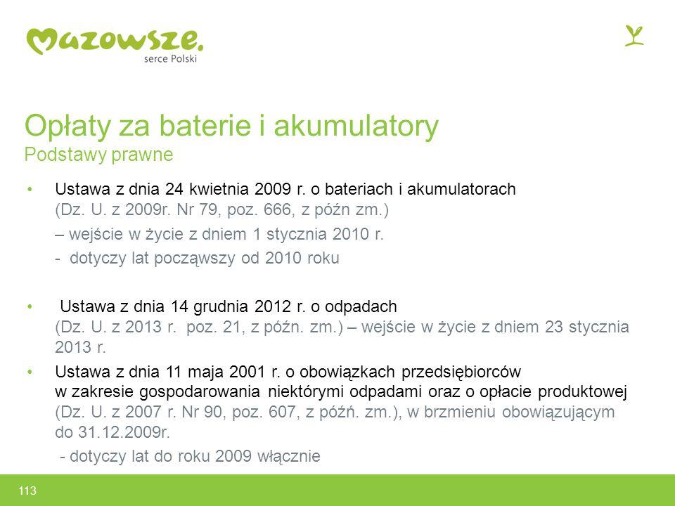 Opłaty za baterie i akumulatory Podstawy prawne Ustawa z dnia 24 kwietnia 2009 r.
