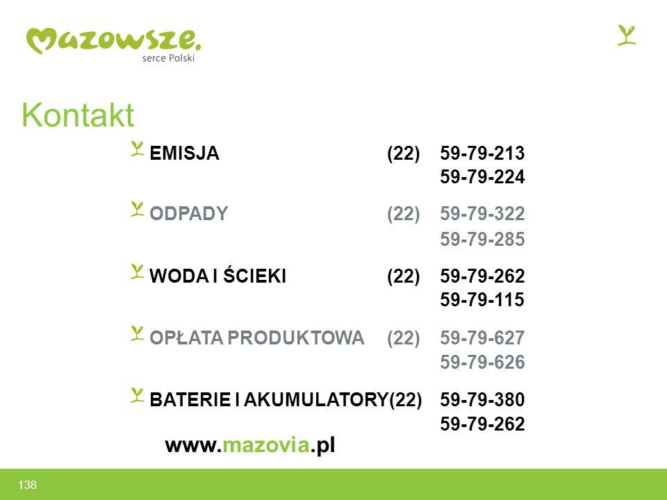 Kontakt EMISJA(22)59-79-213 59-79-224 ODPADY (22) 59-79-322 59-79-285 WODA I ŚCIEKI (22) 59-79-262 59-79-115 OPŁATA PRODUKTOWA(22) 59-79-627 59-79-626 BATERIE I AKUMULATORY(22) 59-79-380 59-79-262 www.mazovia.pl 138