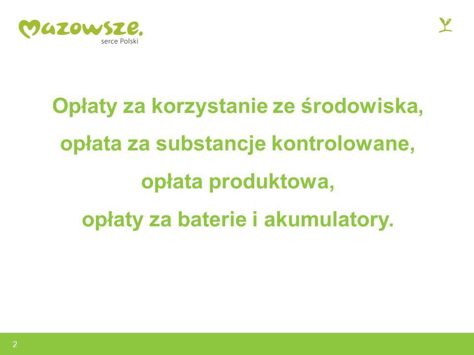 Opłaty za korzystanie ze środowiska, opłata za substancje kontrolowane, opłata produktowa, opłaty za baterie i akumulatory.
