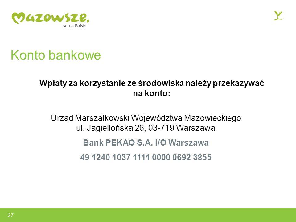 Konto bankowe Wpłaty za korzystanie ze środowiska należy przekazywać na konto: Urząd Marszałkowski Województwa Mazowieckiego ul.