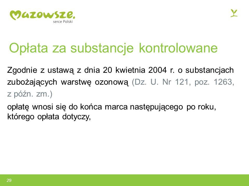 Opłata za substancje kontrolowane Zgodnie z ustawą z dnia 20 kwietnia 2004 r.