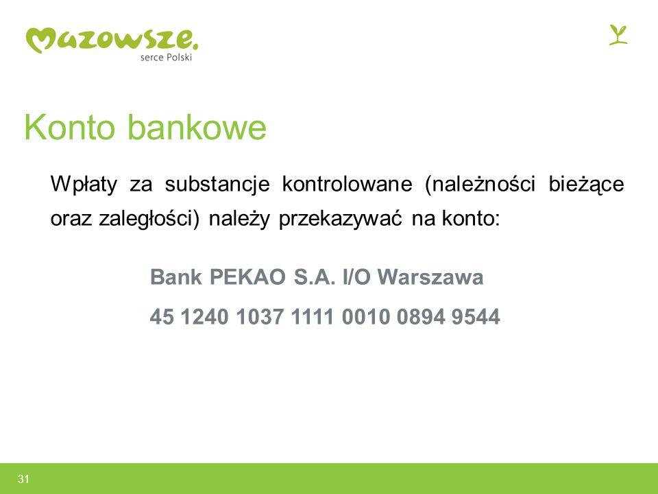 Konto bankowe Wpłaty za substancje kontrolowane (należności bieżące oraz zaległości) należy przekazywać na konto: Bank PEKAO S.A.