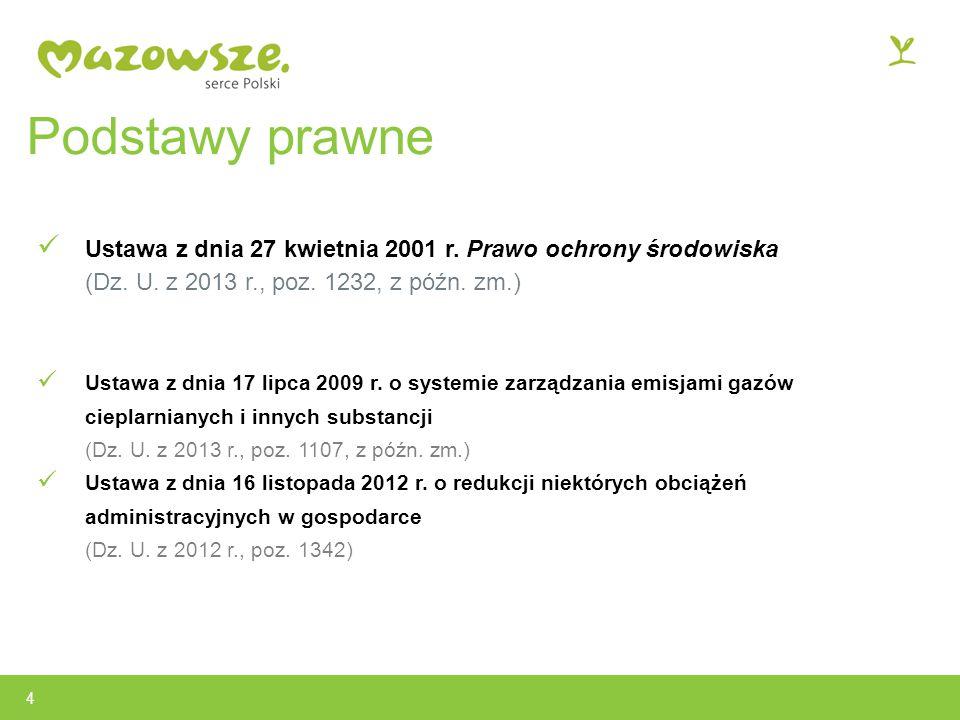 Podstawy prawne Ustawa z dnia 27 kwietnia 2001 r.Prawo ochrony środowiska (Dz.